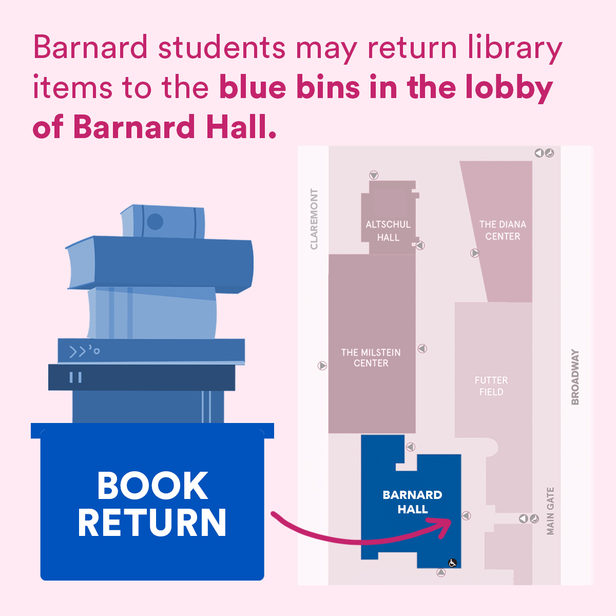 Book return at barnard hall